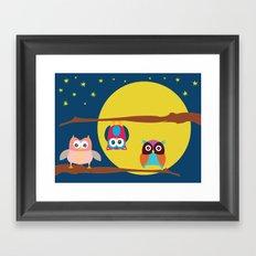 Cute Owls in the Night Framed Art Print