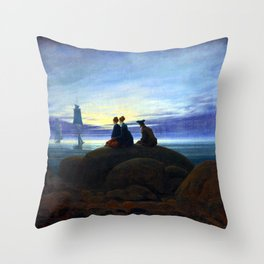 Caspar David Friedrich Moonrise over the Sea Throw Pillow