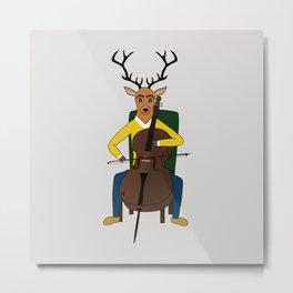 Deer playing cello Metal Print