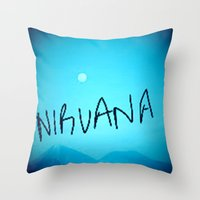nirvana Throw Pillows featuring Nirvana by SLIDE