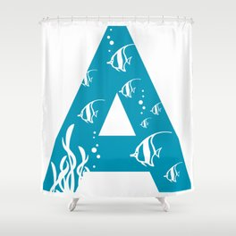 A is for Angelfish - Animal Alphabet Series Shower Curtain
