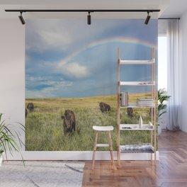 Rainbows and Bison - Buffalo on the Tallgrass Prairies of Oklahoma Wall Mural
