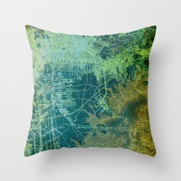Brooklin 1898 antique map, old green map decoration Throw Pillow