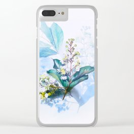 Beautiful Blue Turquoise Teal Cool Colors Flower Plant Arrangement Bouquet Winter Blossom Clear iPhone Case
