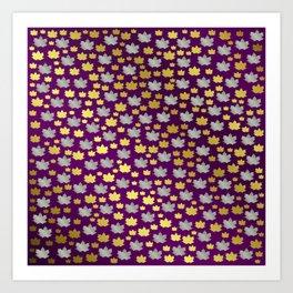 gold,silver,purple,maple, leaf, canadian, canada, symbol, design, background, fall, element, tree, c Art Print