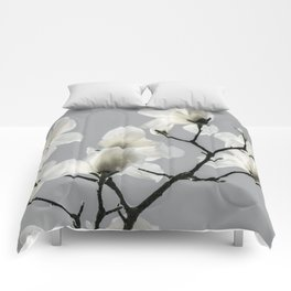 Gray Magnolia and White Comforters