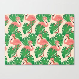 Flamingo in Tropical Forest Canvas Print