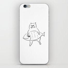 cat nyaha with fish iPhone Skin