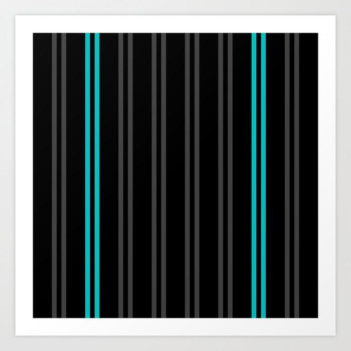 Charcoal Gray/Teal/Black Vertical Stripes Art Print