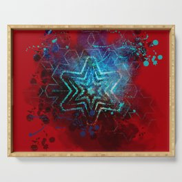 Glowing abstract blue star on blood red Serving Tray