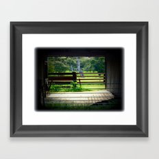 Looking through an old cattle Shed Framed Art Print
