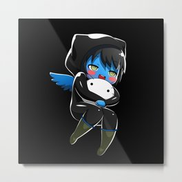 Fuzzy Chibi Luc (Expression 1) w/ Black Background Metal Print