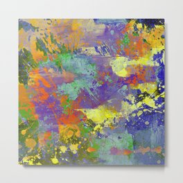 Signs Of Life - Vibrant, random paint splatter multi coloured abstract Metal Print