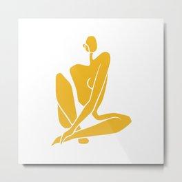 Sitting nude girl in yellow Metal Print
