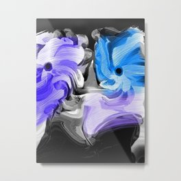 Abstract Flowers in Blue and Lavender Metal Print