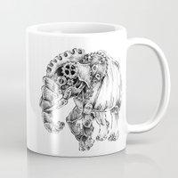 clockwork Mugs featuring clockwork elephant by vasodelirium