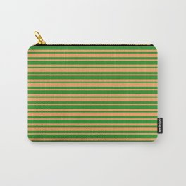 Forest Green & Brown Colored Stripes/Lines Pattern Carry-All Pouch