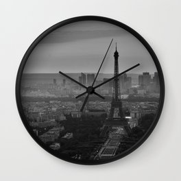 Black &White Paris From Above Wall Clock