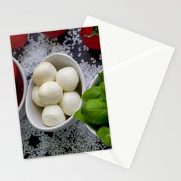 Trio of tomatoes basil fresh mozzarella Stationery Cards