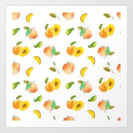 peach pattern / melocotones Art Print