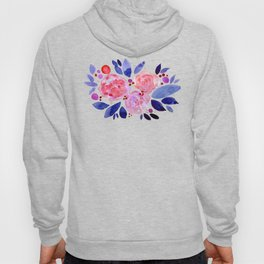 Abstract watercolor roses - pink and purple Hoody