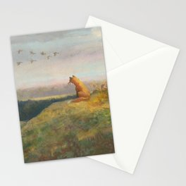 Red Fox Looks Out Over the Valley Stationery Cards