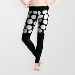 Soft White Pearls on Black Leggings