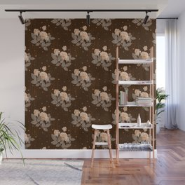 Roses on a brown texture background. Polka dots and stripes Wall Mural