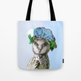 Cool Animal Art - Owl with a Flower Crown Tote Bag