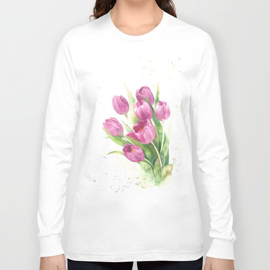Watercolor bouquet of pink tulips Long Sleeve T-shirt