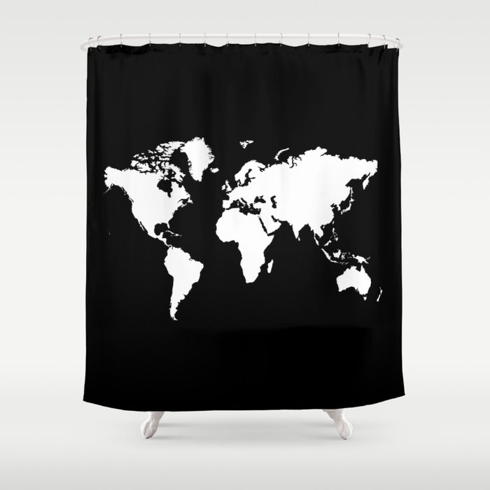 Black white world map shower curtain by haroulita society6 black white world map shower curtain gumiabroncs Gallery