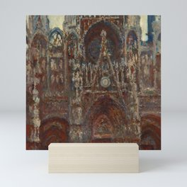 "Claude Monet ""Rouen Cathedral, evening harmony in brown"" Mini Art Print"