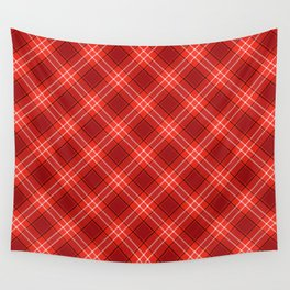 Red Plaid Pattern Wall Tapestry