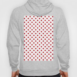 Small Polka Dots - Fire Engine Red on White Hoody