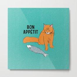 Bon Appetit - Cat with Fish Metal Print