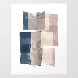 "Navy and Pink Minimalist Geometric Abstract ""Building Blocks"" Art Print"