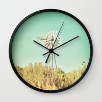american beauty Wall Clocks featuring American Beauty Vol 13 by Farmhouse Chic