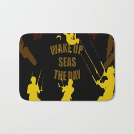 Wake Up Seas The Day Kiteboarder Brown and Yellow Bath Mat