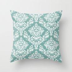 Teal Damask Throw Pillow