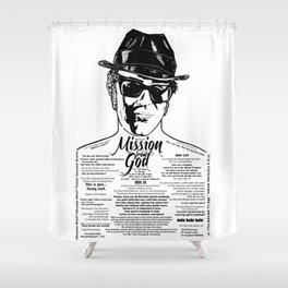 Elwood Blues Brothers tattooed 'Dry White Toast' Shower Curtain