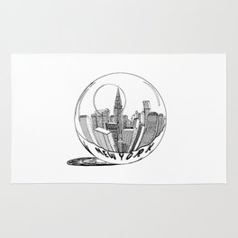 New York in a glass ball . Artwork Rug