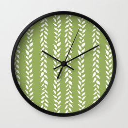 Sap Vines - nature spring leaves green pattern Wall Clock