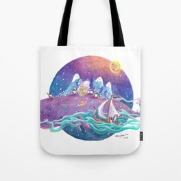 Penguins travel across the sky ocean on a purple whale island and sailboat Tote Bag