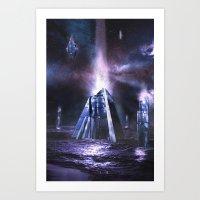 heroes of olympus Art Prints featuring Olympus by Benjamin Parslow