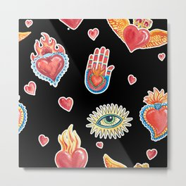 Mexican Symbols Day of the Dead Holiday Mysticism Pattern Metal Print
