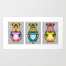 Chestnut Girl Matrioshkas Art Print