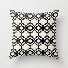 Lattice Stars in Black and Ivory Throw Pillow