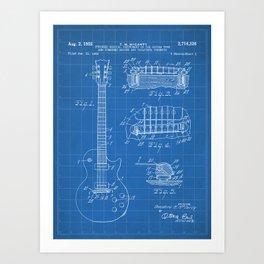 Gibson Guitar Patent - Les Paul Guitar Art - Blueprint Art Print