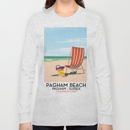 Pagham Beach West Sussex travel poster, Long Sleeve T-shirt
