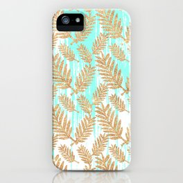 Tropical faux gold glitter plant teal watercolor brushstrokes iPhone Case